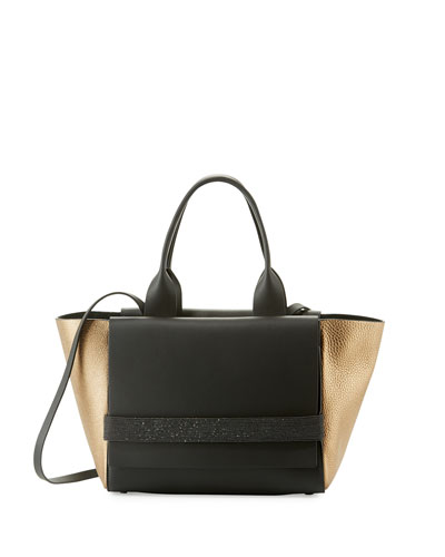 Small Tricolor Flap Tote Bag, Dark Gray/Gold