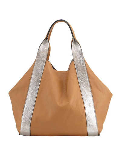 Reversible Metallic Leather Tote Bag, Silver