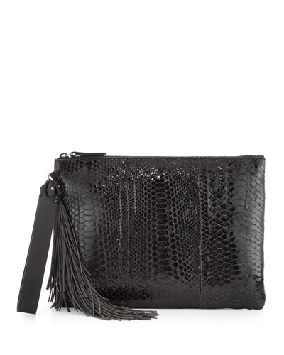 Python Monili-Tassel Wristlet Bag, Black