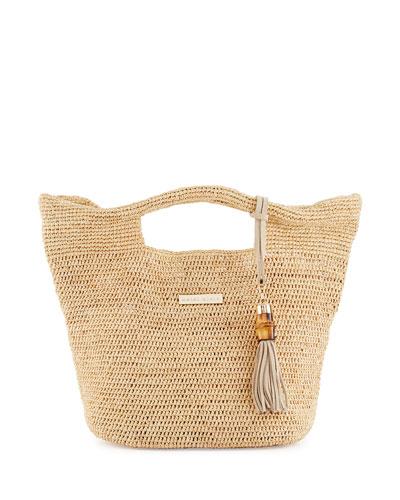Grace Bay Mini Raffia Beach Bucket Bag, Neutral