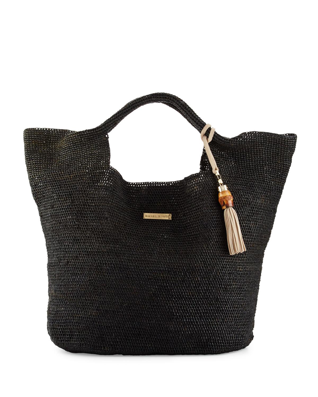 Grace Bay Raffia Beach Bucket Bag, Black