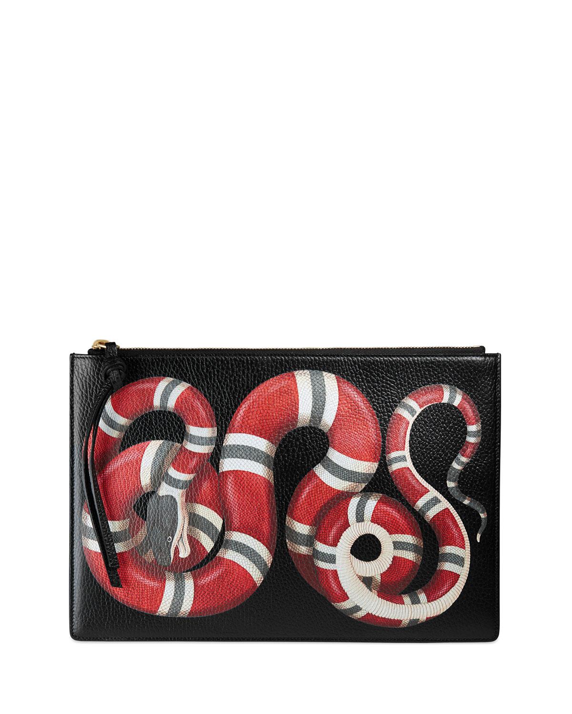 Snake-Print Leather Clutch Bag, Black Pattern