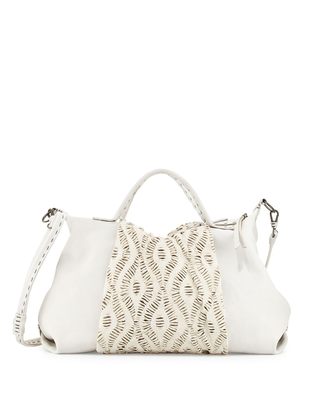 Mina Medium Rumble-Wash Satchel Bag, White