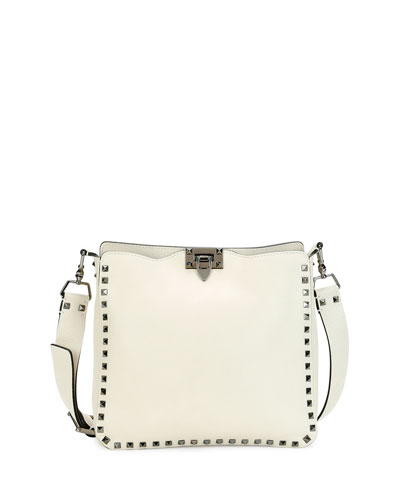 Rockstud Medium Flip-Lock Hobo Bag, Ivory