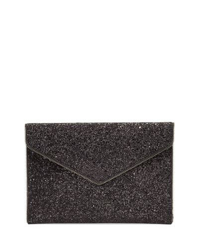 Leo Glitter Clutch Bag, Black