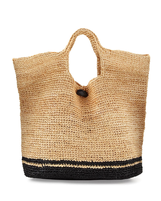 Tash Two-Tone Beach Tote Bag, Neutral/Black