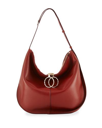 Kuti Large Leather Hobo Bag, Red