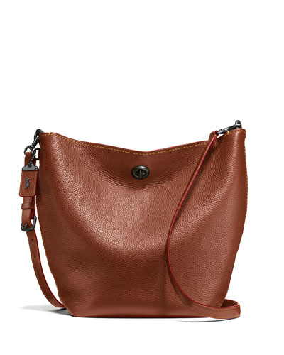 Duffle Leather Bucket Bag, Brown