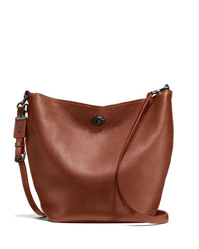 Duffel Leather Bucket Bag, Brown