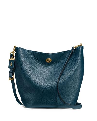 Duffel Leather Bucket Bag, Blue