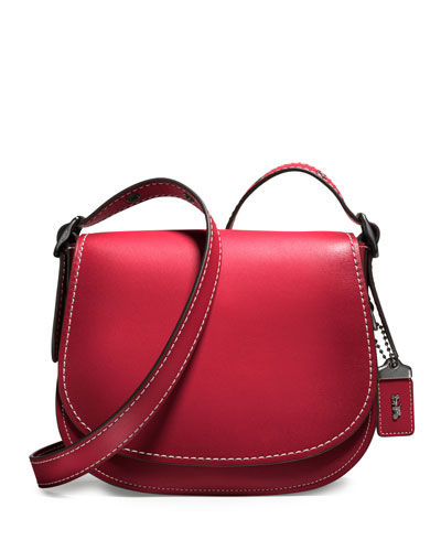 23 Leather Saddle Bag, Red