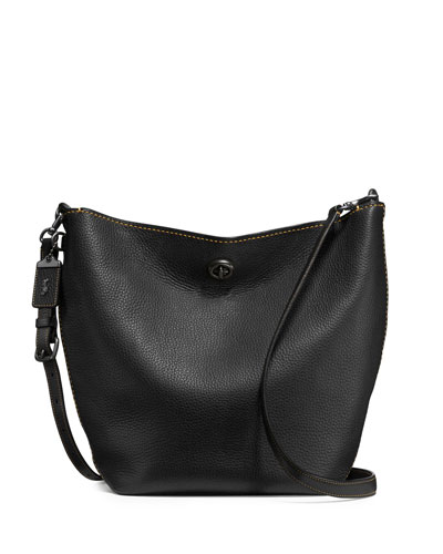 Duffle Leather Bucket Bag, Black