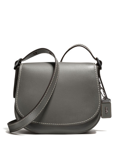 23 Leather Saddle Bag, Black Copper/Heather Gray