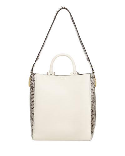 Paola Large Calfskin & Elaphe Tote Bag, Multi
