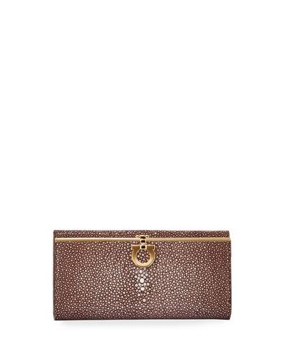 Icona Gancio Clasp Intercontinental Wallet, Brown/Multi