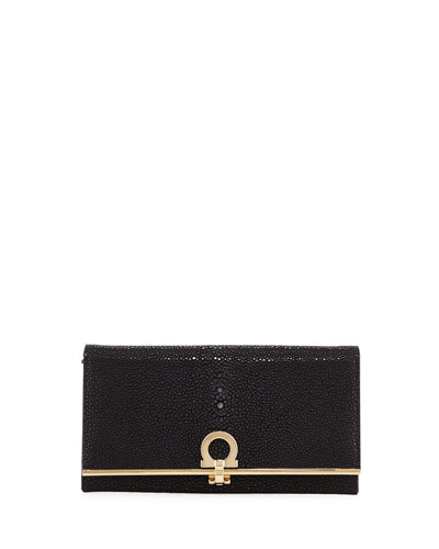 Gancio Clasp Stingray Flap Continental Wallet, Black