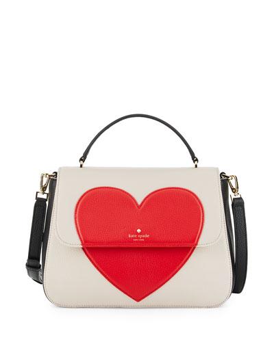 be mine alexya heart satchel bag, crisp linen/black/rooster red