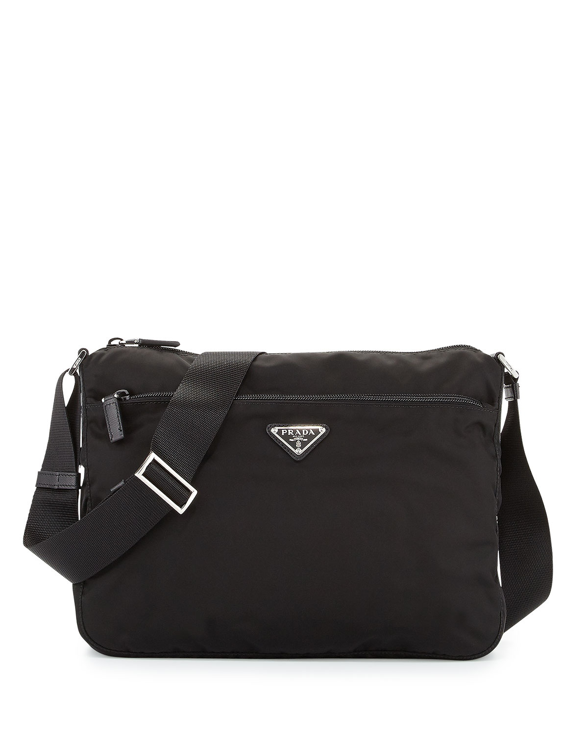 Large Nylon Crossbody Bag, Black (Nero)