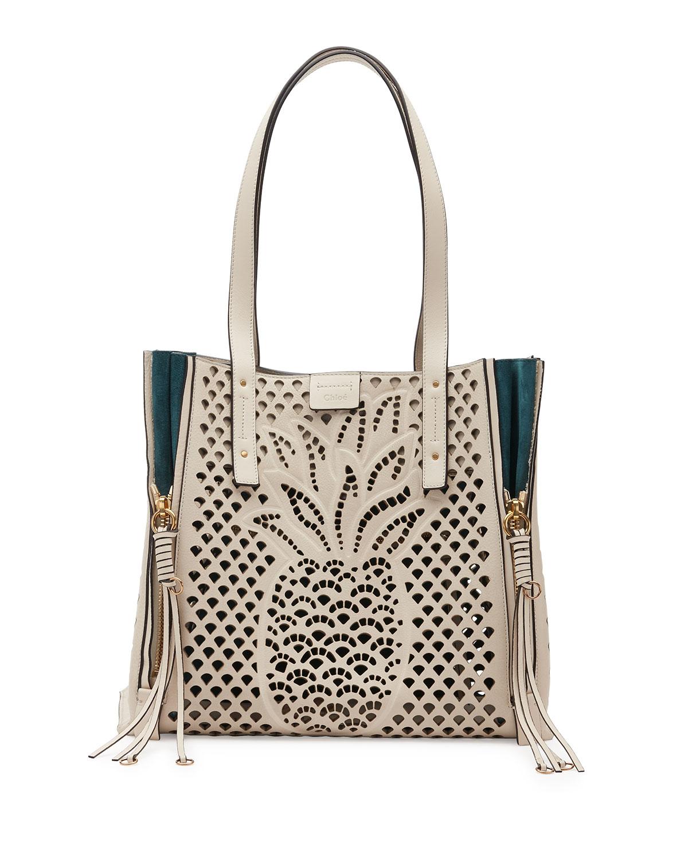 Milo Medium Pineapple Tote Bag, White