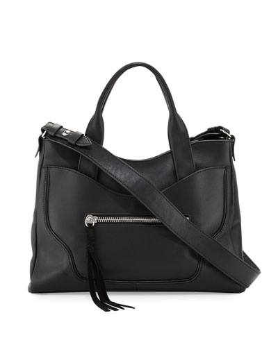 Andie Leather Satchel Bag, Black