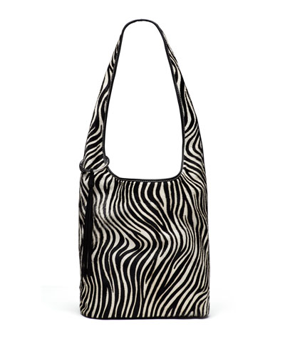 Finley Courier Zebra Calf-Hair Hobo Bag, Black/White