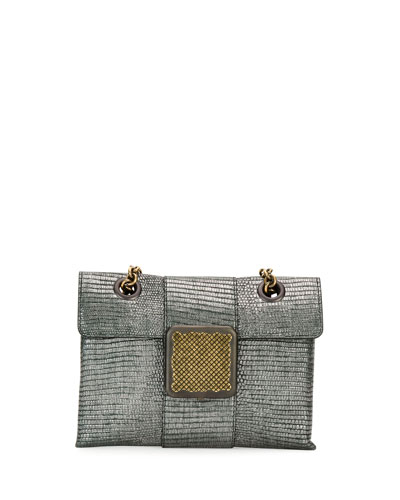 Metallic Lizard Envelope Shoulder Bag, Silver
