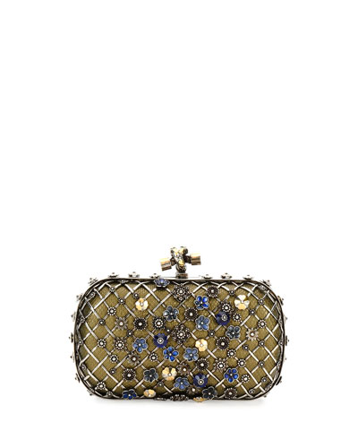 Metal Lattice Mini Knot Clutch Bag