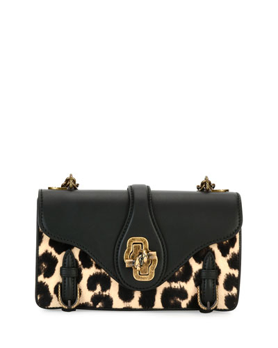 City Knot Calf-Hair Shoulder Bag, Leopard