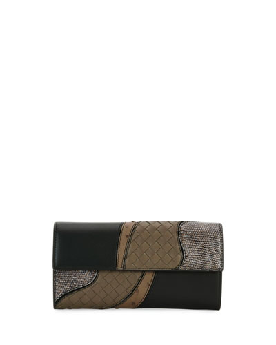 Patchwork Flap Continental Wallet, Black Metallic