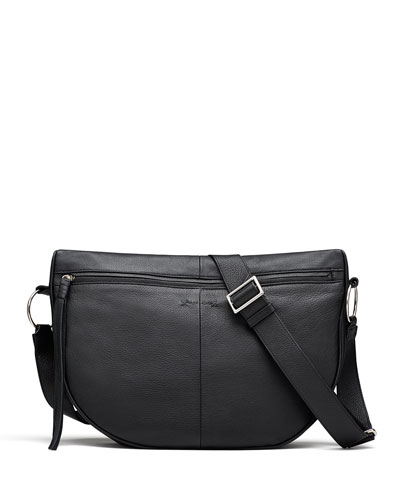 Finley Moon Leather Saddle Bag, Black