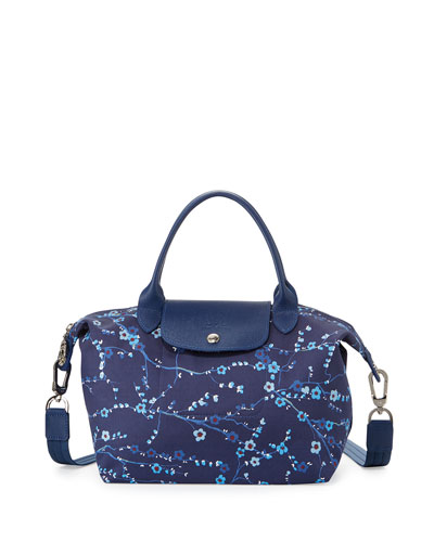 Le Pliage Néo Small Floral Handbag with Strap, Navy Blue