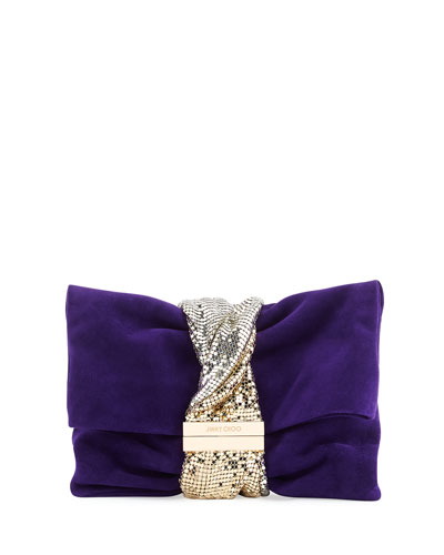 Chandra Small Crystal Clutch Bag, Purple