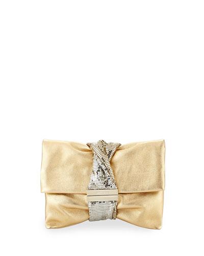 Chandra Small Crystal Clutch Bag, Gold