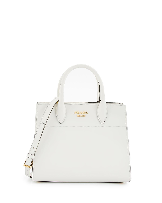 Medium Vitello Daino Open Tote Bag, White