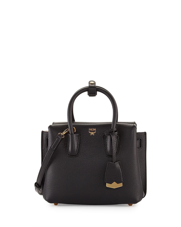 Milla Mini Leather Tote Bag, Black