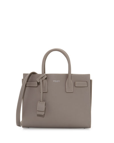 Sac de Jour Topstitched Leather Satchel Bag, Gray