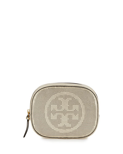 Logo-Perforated Round Cosmetic Bag, Gold