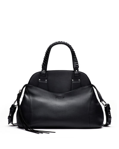 Trapeze Leather Satchel Bag, Black