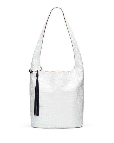 Finley Courier Crocodile-Embossed Hobo Bag, White