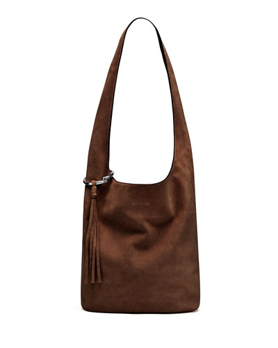 Finley Courier Suede Hobo Bag, Brown