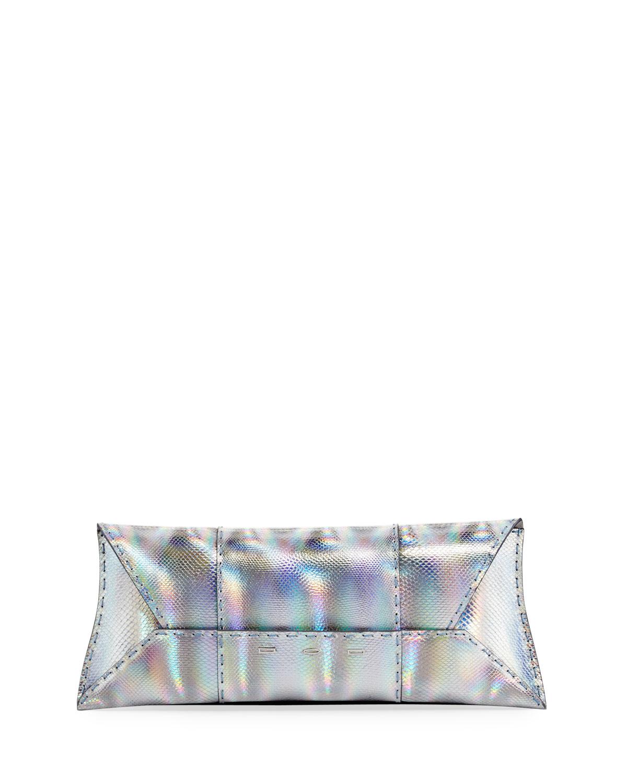 Manila Stretch Karung Clutch Bag, Silver