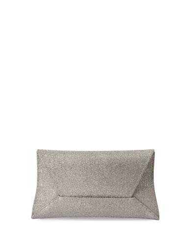 Manila Sparkly Fabric Clutch Bag, Silver