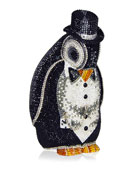 Alfred Penguin Evening Clutch Bag, Black/Silver