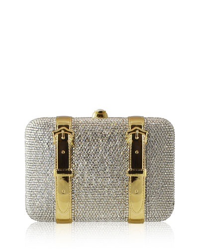 Crystal Buckle Minaudiere Bag, Silver/Gold