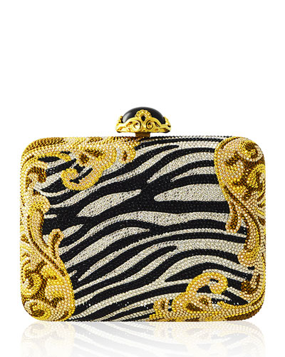 Golden Zebra Large Slim Rectangle Evening Clutch Bag, Zebra