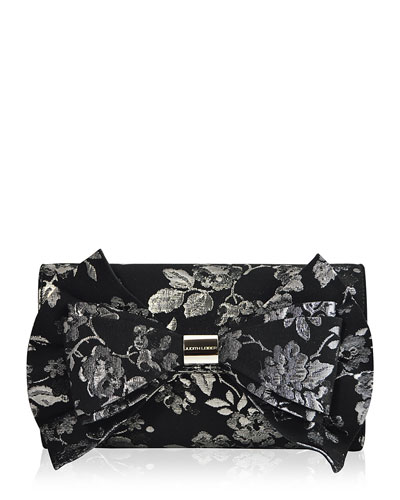 Beekman Brocade Bow Evening Clutch Bag, Black/Silver