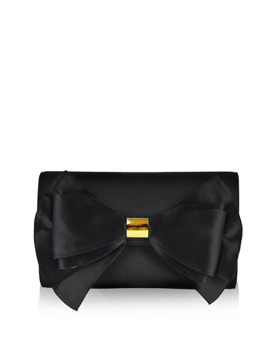 Beekman Satin Bow Evening Clutch Bag, Black/Gold