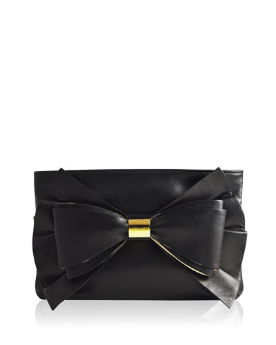 Sutton Leather Bow Evening Clutch Bag, Black/Gold