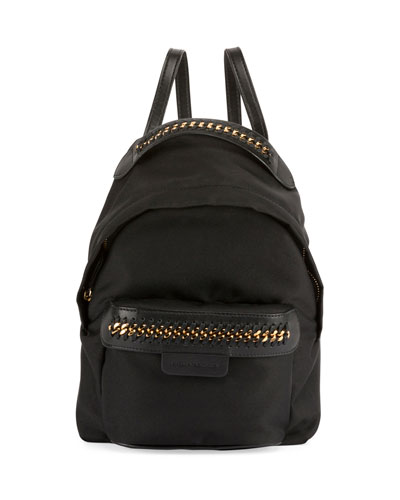 Eco-Nylon Woven-Trim Backpack, Black