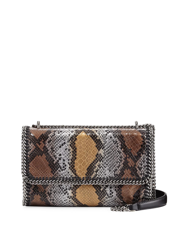 Snake-Print Whipstitch Chain Shoulder Bag